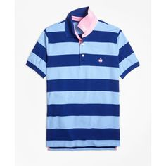 Brooks Brothers Slim Fit Bright Rugby Stripe Performance Polo Shirt ($75) ❤ liked on Polyvore featuring men's fashion, men's clothing, men's shirts, men's polos, blue, mens slim fit shirts, mens blue shirt, mens blue polo shirts, mens polo shirts and mens slim shirts