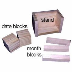 Brayton here. Today I'm going to show you how to make a Perpetual Calendar from blocks of wood. This tutorial will also ap.Lady Brayton here. Today I'm going to show you how to make a Perpetual Calendar from blocks of wood. This tutorial will also ap. Wood Block Crafts, Wooden Crafts, Wooden Diy, Woodworking Guide, Custom Woodworking, Woodworking Projects Plans, Diy Calendario, Block Calendar, Wooden Calendar