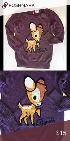 "Fun retro look ""Bambi"" sweater great condition Have fun and keep warm with this Bambi sweater. Sure to create a conversation! Divided Sweaters"