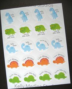 Dinosaur Stickers Printed 2 Circle Sticker por Kellymedinastudios, $4.49