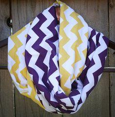 Infinity Scarf // Purple/Yellow Chevron Jersey Knit // LSU Tigers/Vikings/Ravens
