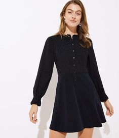bfeaa3a6b8176 Textured Dot Flare Shirtdress | LOFT Petite Dresses, Petite Outfits, Loft  Outfits, Skirt