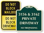 Custom Driveway Signs  lots 22 and 25 - private driveway no trespassing