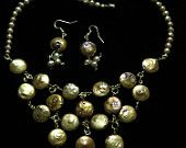 Golden Pearls Drape Necklace and Earrings Set
