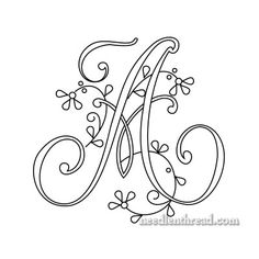 (^_^) Delicate Spray Monogram for Hand Embroidery - A-H only  - Floral