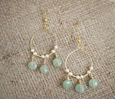 DIY Green & Gold Chandelier Earring Tutorial from Fab You Bliss - love these (though I'd use silver and another color for the beads) - they're gorgeous!