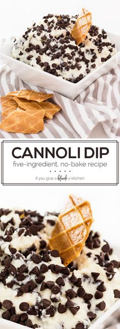 Five-ingredient easy homemade cannoli dip recipe takes 15 minutes to make and can be stored in the fridge up to two days before serving. It's a no-bake recipe that will feed a crowd! | www.ifyougiveablondeakitchen.com