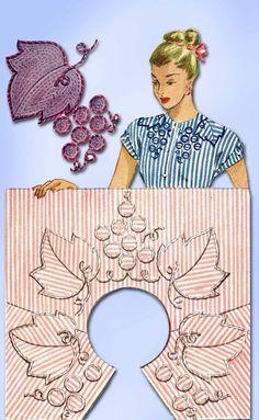 1940s Vintage McCall Embroidery Transfer 1242 Uncut Wine Grape Neckline Trims