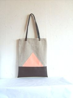 Leather+tote+canvas+tote+large+tote+geometric+bag+by+allbyFEDI,+$44.00