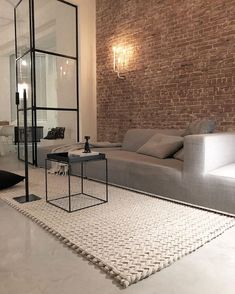 luxury home accents Want one small section of wall in living room to have brick accent wall like so. Can use thin brick tiles. Living Room Interior, Home Living Room, Home Interior Design, Interior Architecture, Living Room Designs, Luxury Home Decor, Cheap Home Decor, Luxury Homes, Home Remodeling