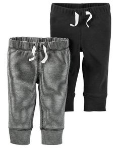 Two essential pairs in one pack! With banded cuffs, these babysoft cotton pants are baby's everyday must-haves.