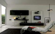 living room interior design furniture tv wall unit section picture . Living Room Tv, Small Living Rooms, Home And Living, Living Room Designs, Modern Living, Minimalist Living, Living Area, Design Salon, Deco Design