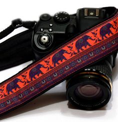 Lucky Elephants Camera Strap. Original Camera by LiVeCameraStraps