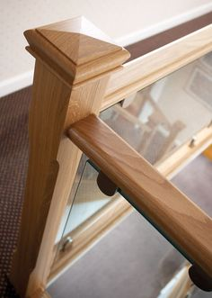 Oak and Glass Staircases - Neville Johnson Staircases Staircase Railing Design, Modern Stair Railing, Timber Stair, Staircase Handrail, Staircase Makeover, Modern Staircase, Glass Stairs, Glass Railing, Wooden Stairs
