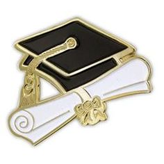 Lapel Recognition Pin - Graduation Cap and Diploma - Solid Brass, Plated in Gold, and Enamel Color Fills Graduation Cards Handmade, Graduation Stickers, Graduation Theme, Graduation Decorations, Black And White Balloons, School Painting, Pink Wallpaper Iphone, Baby Shower Invitations For Boys, Poly Bags