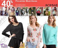 #Romwe Pré- Must- Haves Até 40% de desconto Periodo: 15/10/2013 à 18/10/2013  Romwe Pre-winter Must-Haves Up to 40% OFF  Date: 10/15/2013--10/18/2013