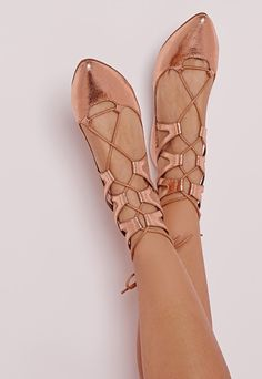 Lace Up Pumps Rose Gold - Shoes - Flat Shoes - Missguided