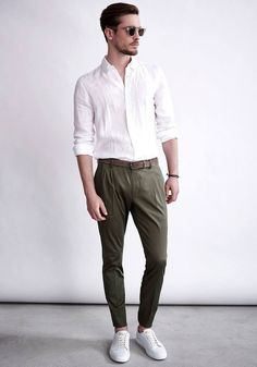 Love this look! The white fairs well with the olive for a safe summer look altogether.