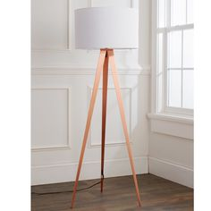 Sleek Copper Tripod Floor Lamp brushed_copper