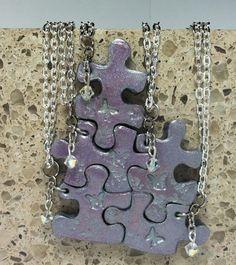 Puzzle Piece Necklace Set o... from GirlwithaFrogTattoo on Wanelo