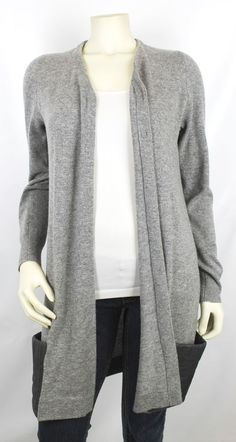 Schumacher Grey Cashmere Black Leather Pocket Long Sleeve Cardigan Size 4 #Schumacher #Cardigan