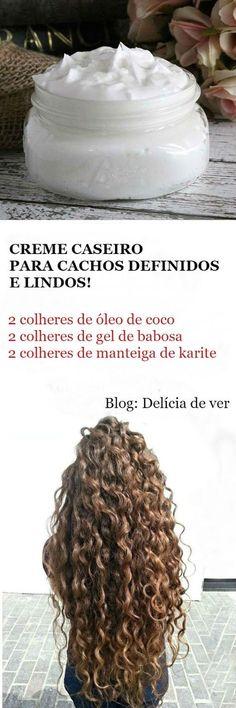 DELÍCIA DE VER - Receitas de Beleza: CREME PARA CACHEAR CASEIRO