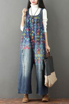 63b440d1e2c9 Autumn Cotton Casual Loose Denim Overalls Jumpsuits For Women Q6517 Denim  Spielanzug, Jeans Overall,