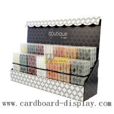 boxed candle PDQ display, counter showing box. www.popcardboarddisplay.com email to sales4@safepacking.hk