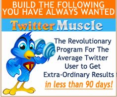 PIN IT and your membership to TWITTER MUSCLE, a video course that will PUMP UP YOUR TWITTER, could be YOURS by this evening! Learn How to Effectively Use Twitter to Gain New Followers, Get More Traffic, and Make More Sales! PIN IT TO WIN IT! We'll pick a winner tonight, 2/27 at 8:00 pm ET! GET READY, GET SET...PIN!