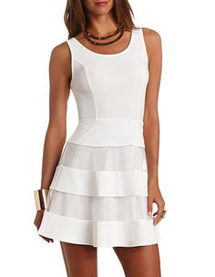 Sleeveless Organza-Striped Skater Dress: Charlotte Russe