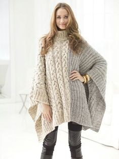 Chatsworth Cabled Poncho Free knitting pattern http://www.lionbrand.com/patterns/L40600.html?iP=1