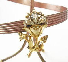 Vintage Golden Flower Brooch/Pin with Diamond Rhinestones - Vintage Jewelry by FembyDesign, $16.00