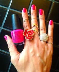 Rose ring and fun knuckle rings with OPI pink polish! code name: drédin: Rose Gold