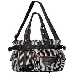 Banned Pinstripe Bag White | Gothic Clothing | Emo clothing |... ($48) ❤ liked on Polyvore