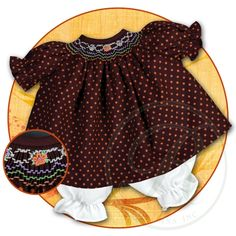 Orange Polkadot Brown English Smocked Doll Dress 15F 5674DD