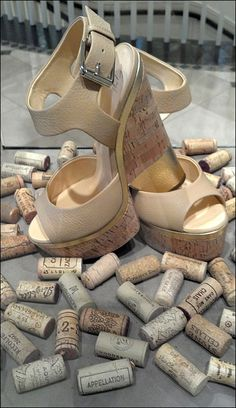 Cork-on-Cork Platform Shoe Merchandising
