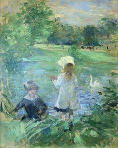 Au bord du lac - Berthe  morisot  1883, not Claude Monet
