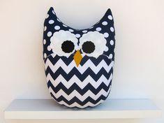 Navy Blue Chevron Owl Pillow Nursery Decor on Etsy, $32.00