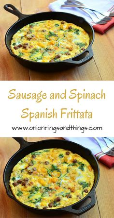 Sausage and Spinach Spanish Frittata is a delicious breakfast treat ...