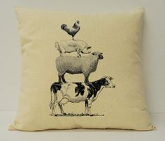 Stacked Animals Pillow, Farm Animals, Rustic Pillow, Farmhouse Pillow, Farmhouse Chic, Cow, Pig, Rooster, Sheep