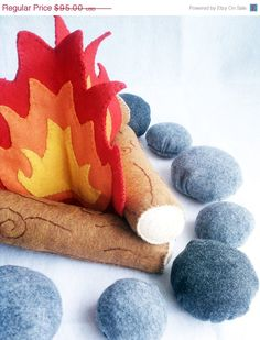 ON SALE NOW Felt Campfire Plush Playset- flames, logs and rocks