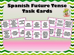 36 Task Cards with questions for students to answer in Spanish in the future tense   Great for speaking or writing practice!   Includes a list of kinesthetic activities for the cards