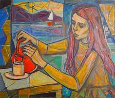 'tea-time' oil painting by irving amen