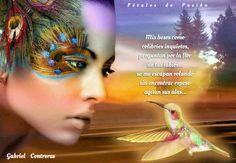 COLABORADORES    GABRIEL & ALEJANDRO  Mis besos como colibríes inquietos, preguntan por la flor de tus labios... se me escapan volando sin encontrar reposo agitan sus alas...  deseando la miel de tus encantos y se me escapa entre suspiros un manantial de te Amos... y mis gritos hechos aves rompen el paisaje de la tarde llevando deseperados mensajes de un te necesito... que en el pecho me arde.  Gabriel Contreras