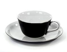 """Cup & saucer, Shape """"Paris"""", Black border, platinum decoration, V 0,15 l"""