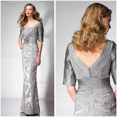 Cheap dress long sleeve tunic dress, Buy Quality dress social directly from China dress crystal Suppliers: 		  	  		  		  	Silver Lace Mother Of The Bride Dresses With Half Sleeve Flower Appliques Elegant Mo