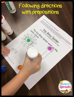 Itsy Bitsy Spider Fun for /sp/ Following directions with prepositions! From my Itsy Bitsy Spider Unit.