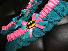 PLUS SIZE Superhero Bride's & Toss Garter set made in CUSTOM colors to match your wedding scheme Geeky Comic Book Wedding on Etsy, $50.00