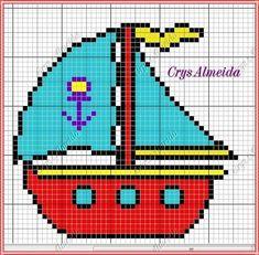 Barco Cross Stitch Baby, Cross Stitch Charts, Cross Stitch Patterns, Knitting Charts, Knitting Patterns, Knitted Jackets Women, C2c Crochet Blanket, Cat Love, Cross Stitching