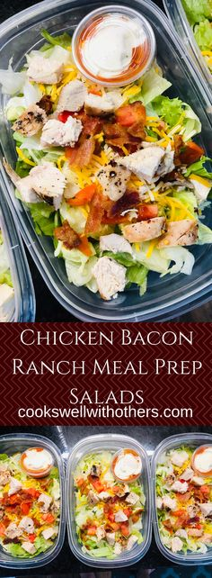 Chicken Bacon Ranch Meal Prep Salads - - Chicken Bacon Ranch Meal Prep Salads are easy to make and are perfect meals to grab for those extra busy weeks when you're on the go! Lunch Meal Prep, Meal Prep Bowls, Easy Meal Prep, Healthy Meal Prep, Healthy Eating, Chicken Meal Prep, Chicken Recipes, Chicken Salads, Chicken Bacon Ranch Salad Recipe